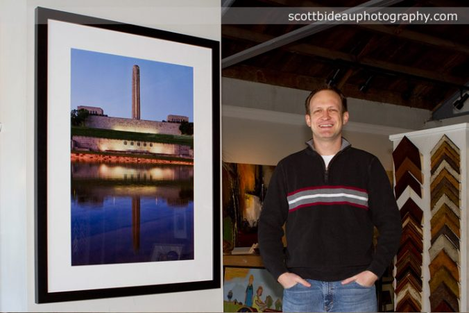 Scott Bideau displaying his artwork at Prairiebrooke Arts in Overland Park, KS
