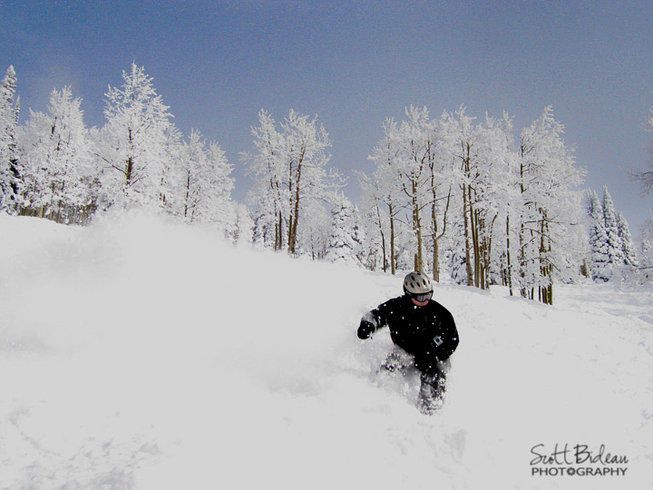 Scott Bideau snowboarding the Steamboat powder