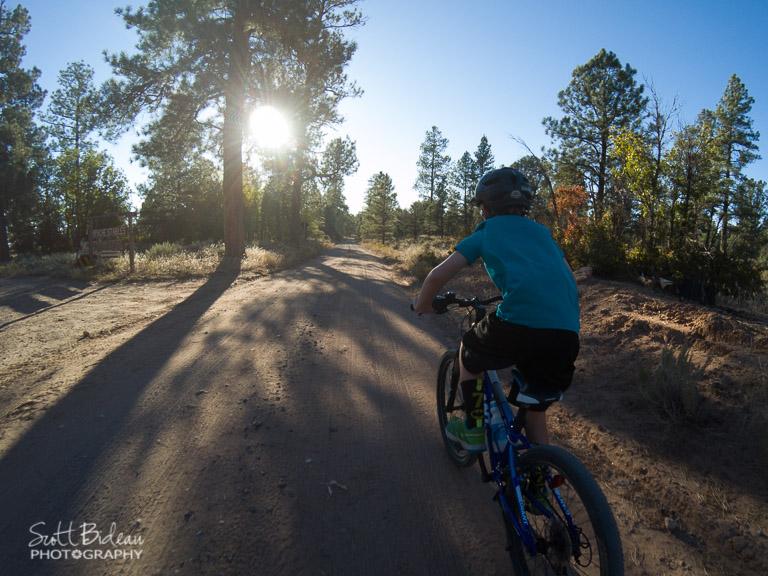 Biking a dirt road near Grand Canyon