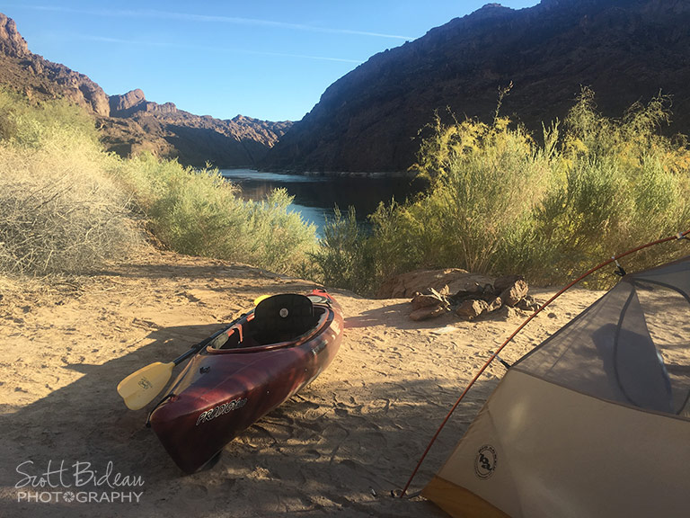 Dispersed campsite along the Colorado River Black Canyon