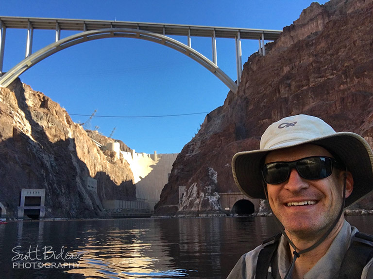 Scott Bideau kayaking at base of Hoover Dam