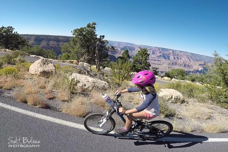 6-year old biking Hermits Road in Grand Canyon