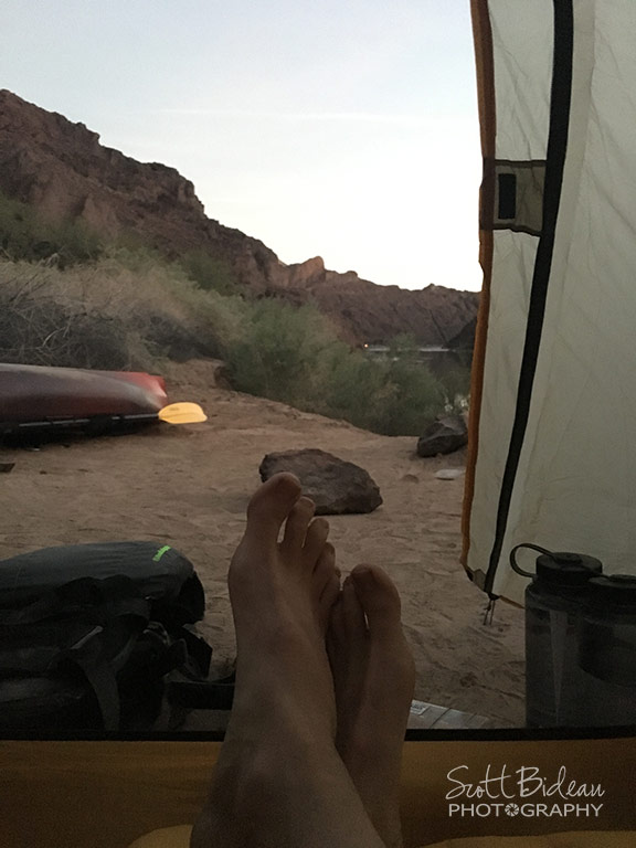 Inside BAP tent looking out over Colorado River