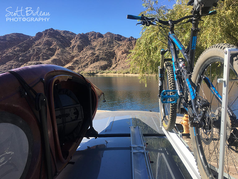kayak and bike on Yakima roof rack