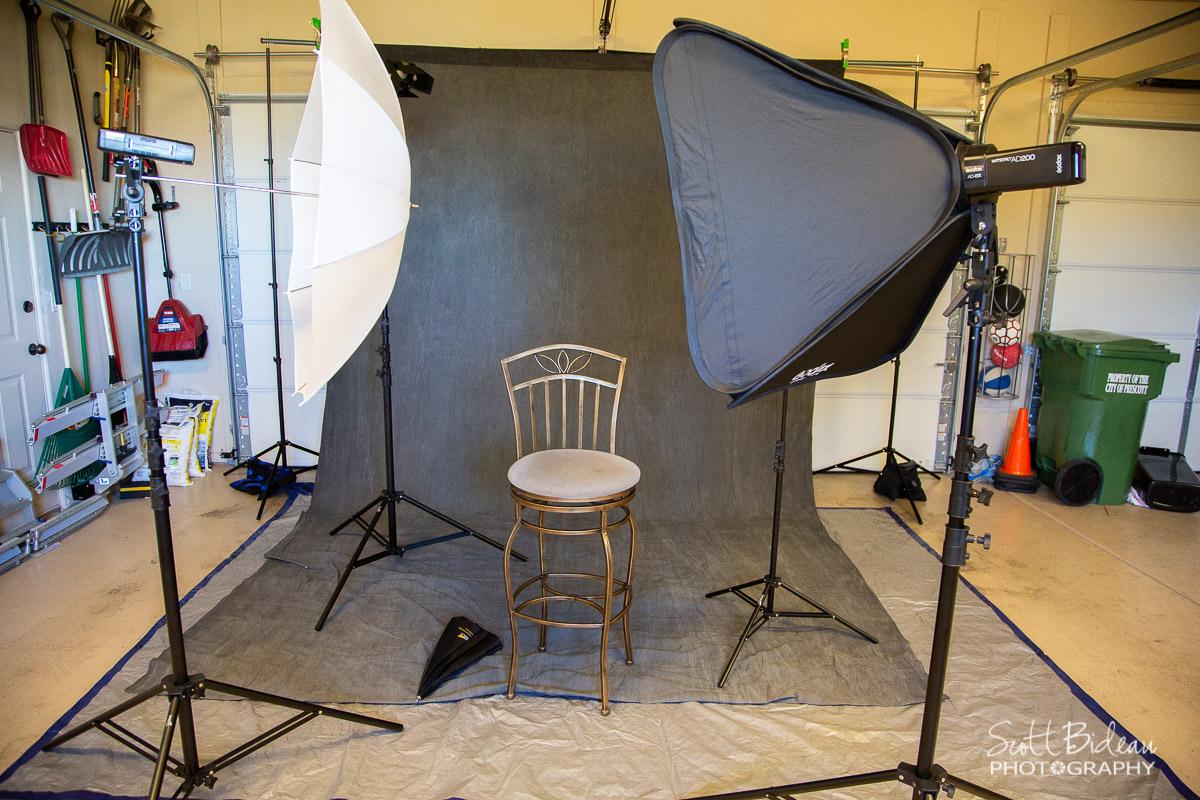 portable photography studio equipment setup in garage